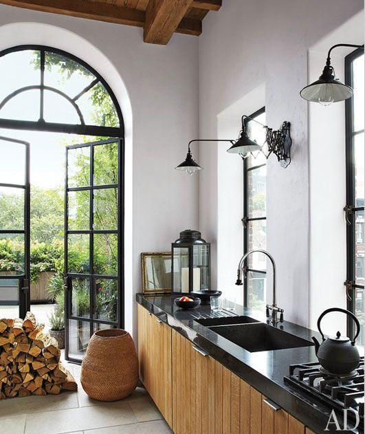 French kitchen with beautiful stylish pendants