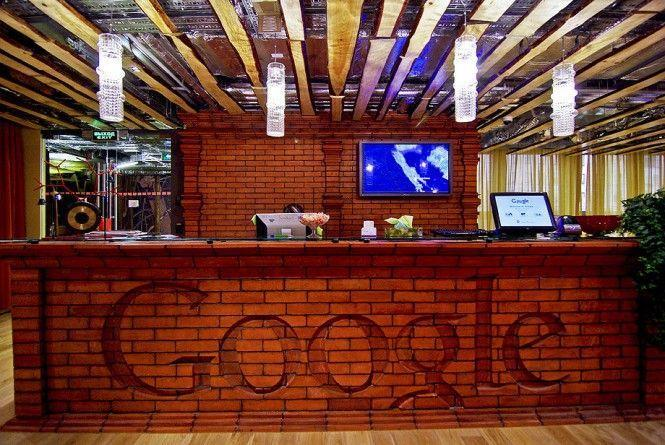 Google's office reception desk with interesting and modern design