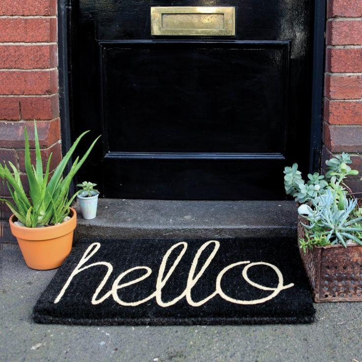 Hello doormat in black and white color