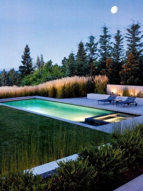 Illuminated pool for relaxing nights outdoors