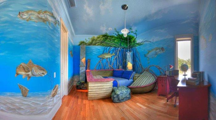 Kids' bedroom with ocean interior and interesting wallpapers