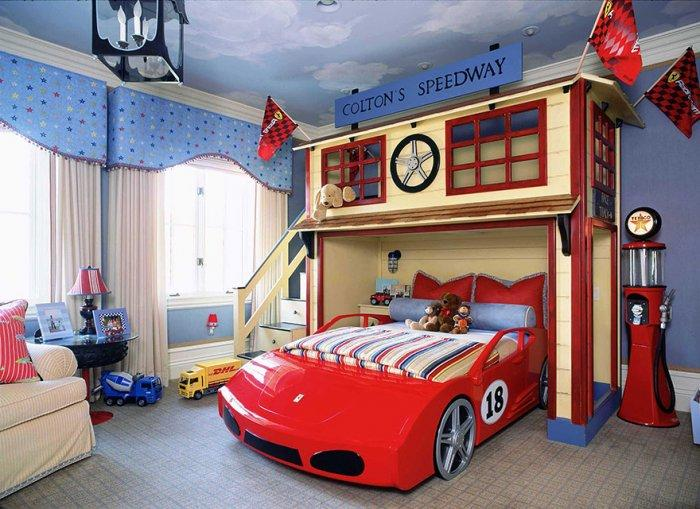 Kids' bedroom with racetrack interior and car bed