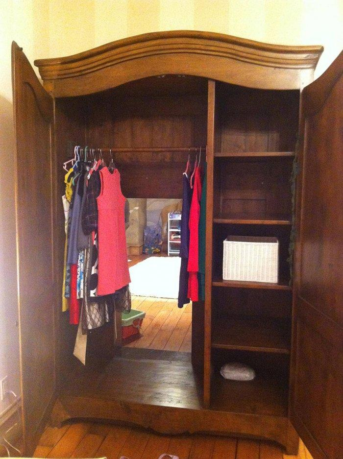 Kids' hidden room in the wardrobe