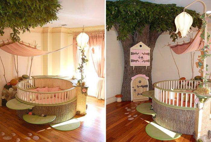 Kids' room for playing with tree