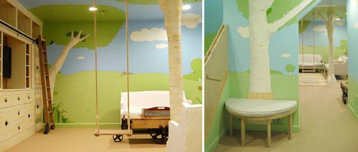 Kids room with creative wallpapers