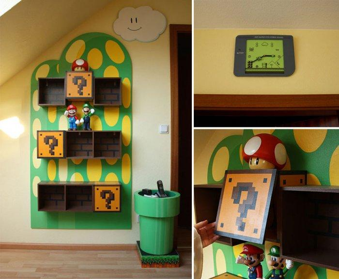 Kids' room with interior inspired by Super Mario