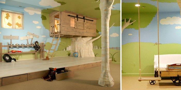 Kids room with tree house bed