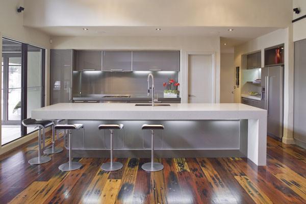 Kitchen design with expensive wood floor