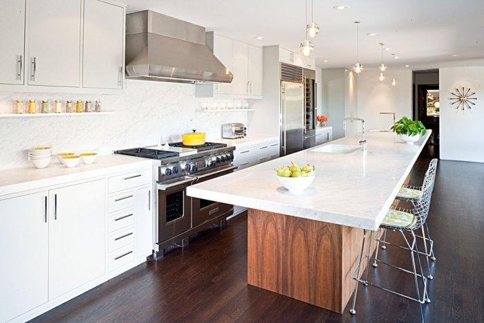 Long kitchen island with marble countertop