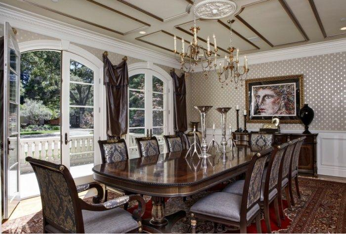 Luxurious Victorian dining room with silk curtains