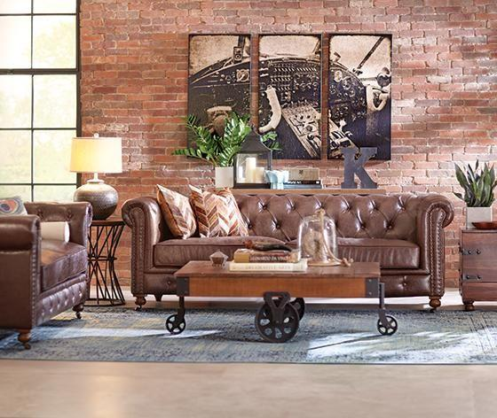 Luxurious brown leather sofa in a New York loft