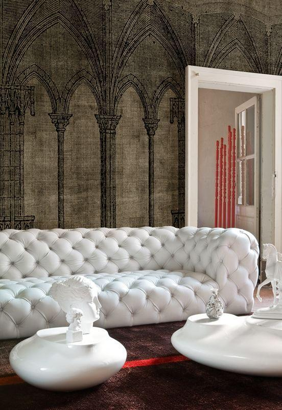Luxurious white leather sofa in an artful home