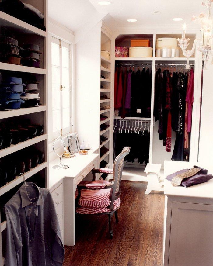 Makeup vanity inside a classic bedroom closet