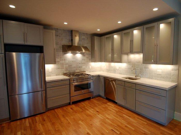 Marble countertops in a modern kitchen