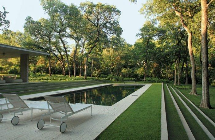 Minimalist swimming pool with grass and two lounge chairs