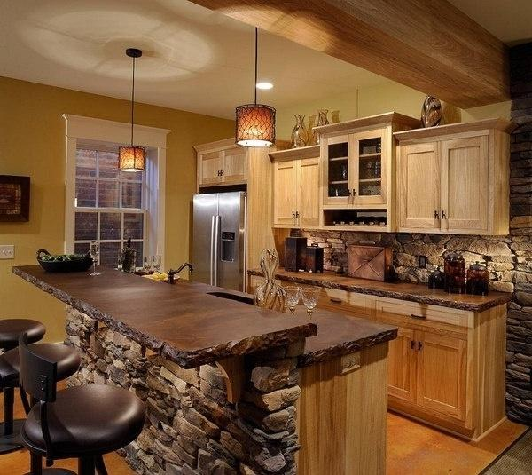 Modern Cottage Kitchen With Bar Stools Founterior