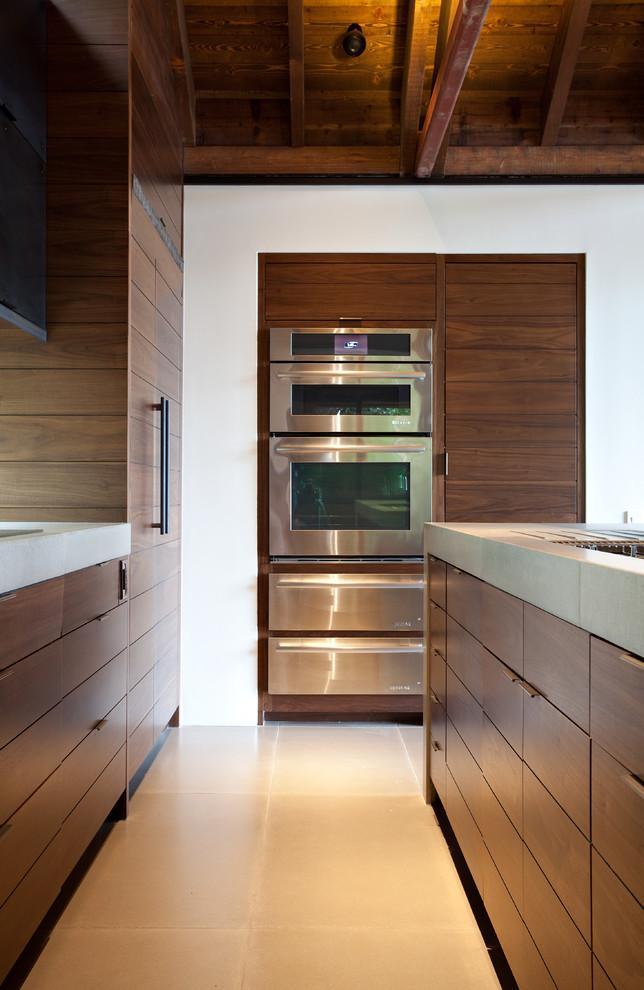 Modern kitchen with wallnut wood accents