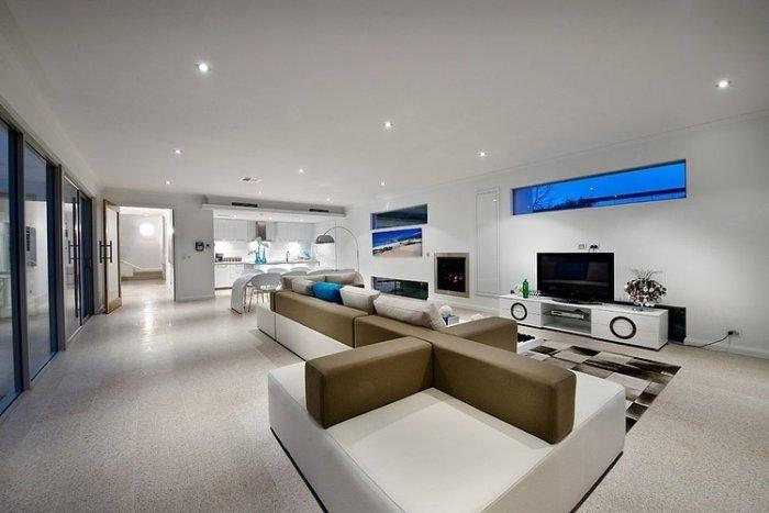 Modern living room with creative sofas and furniture