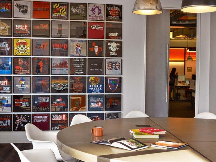 Modern office interior with creative wall decorations