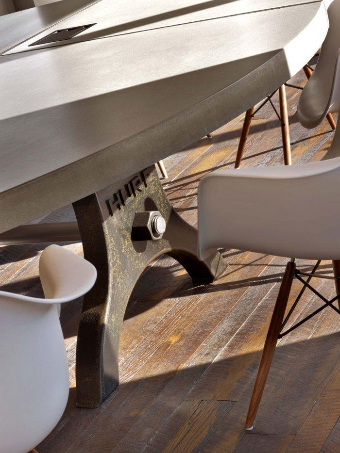 Modern office table with industrial iron legs