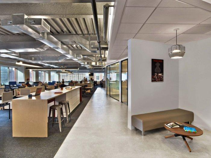 Modern office with open space interior with industrial for Open space interior design