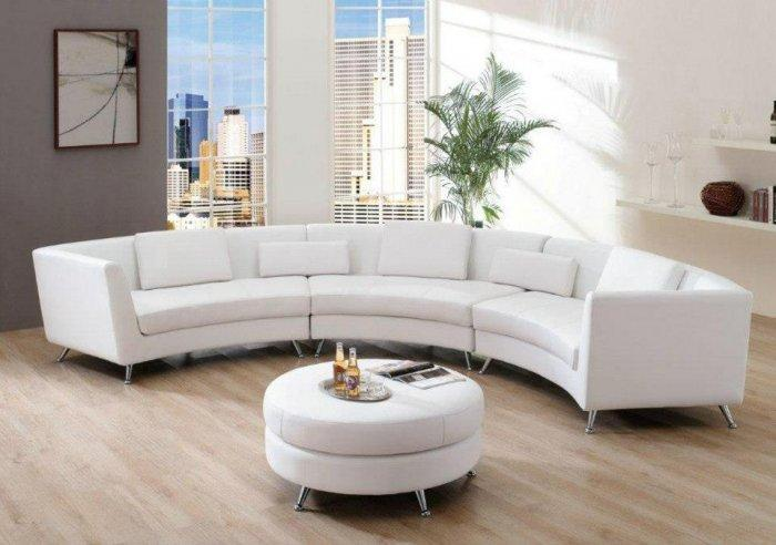 Modern white leather sofa in a contemporary home
