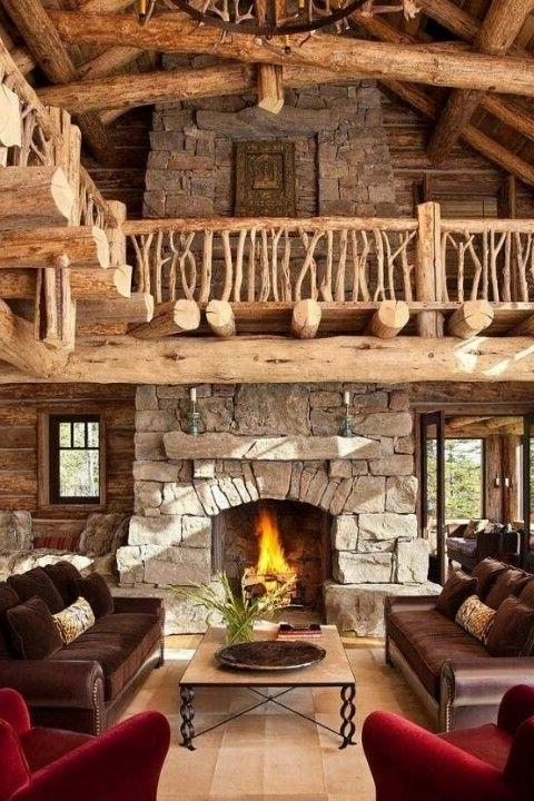 Mountain cottage living room with double height ceiling