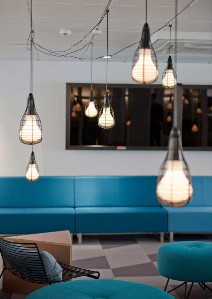 Office lounge room with interesting light bulbs