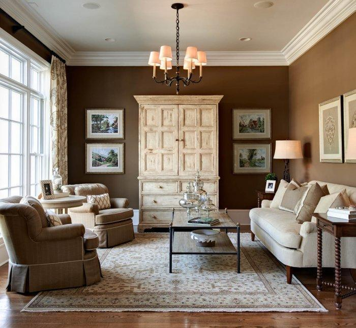Pale brown interior of a traditional living room