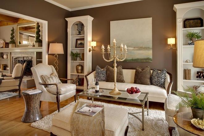 Pale brown walls in a traditional living room