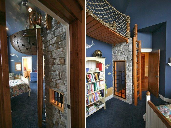 Pirate room with ropes and bookshelf
