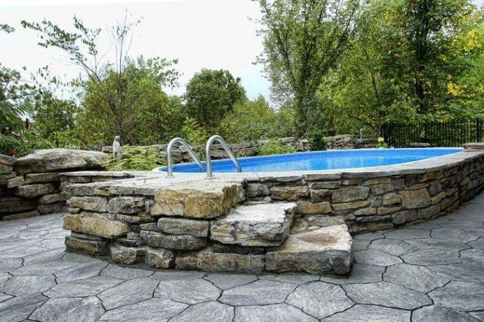 Pool With Stone Cladding Installed One Level Up The Ground