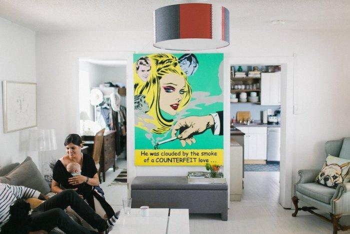 Pop art painting in a beach house