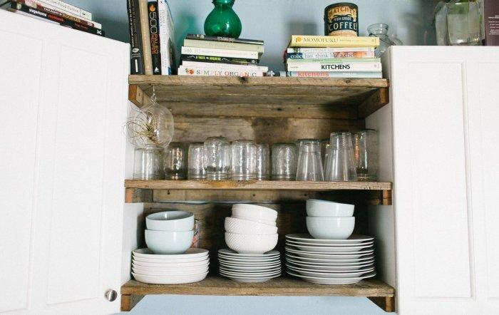 Reclaimed wood shelves used for kitchenware