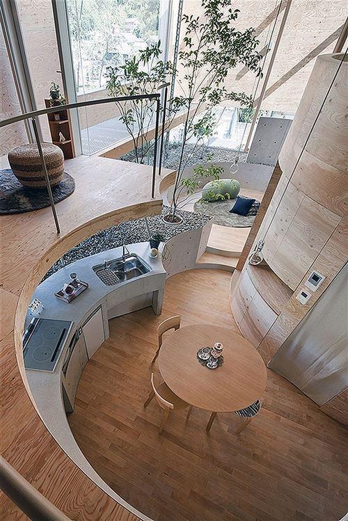 Round kitchen with modern interior design