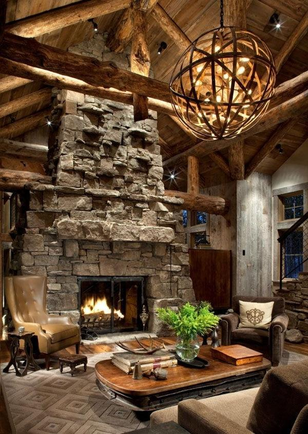 Rustic cabin living room with stone fireplace | | Founterior