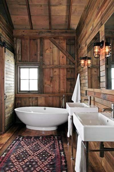 Rustic Cabin Toilet With Cozy Mountain Rug