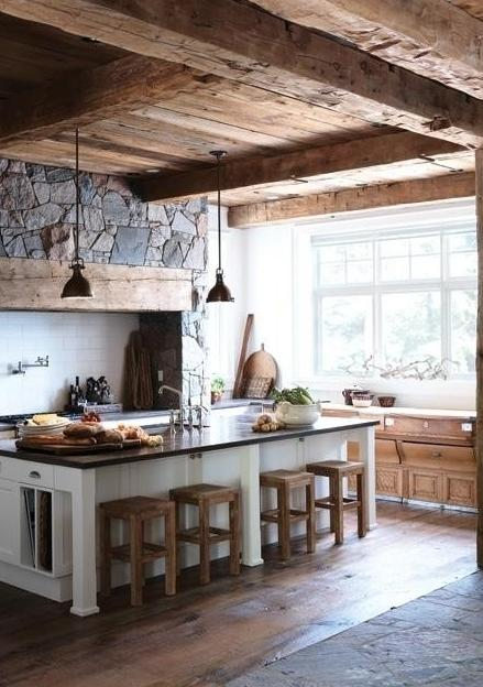 rustic log cabin kitchen with interesting stone details