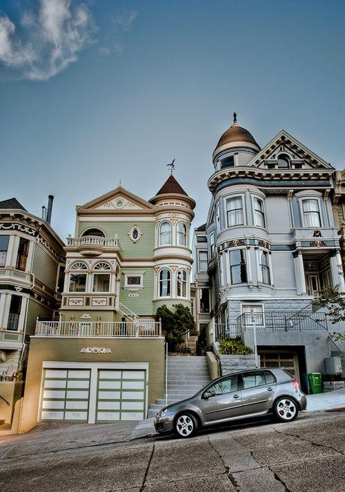San Francisco Victorian houses in a row in a neighborhood