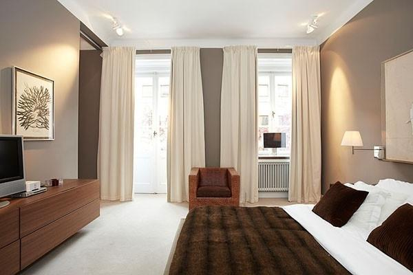 Scandinavian bedroom in warm colors