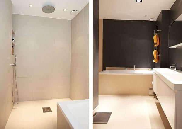 Scandinavian minimalist bathroom in white and black