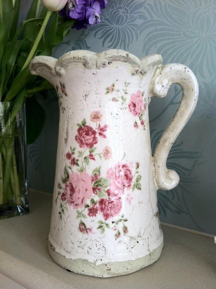 Shabby Chic porcelain pitcher with flower patterns