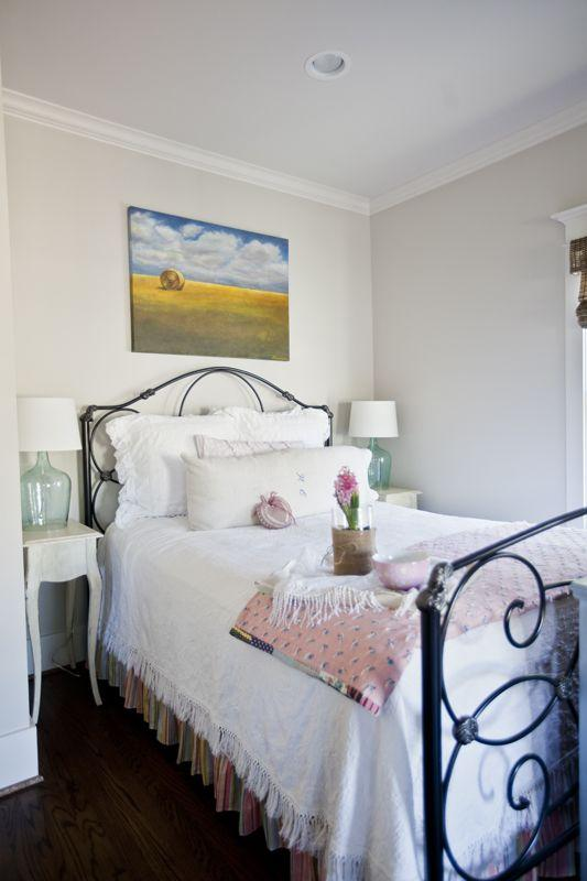 Shabby chic bedroom with comfortable bed