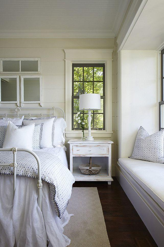 Shabby chic bedroom with cozy beds