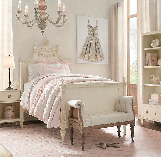 Shabby chic bedroom with pink bed cover