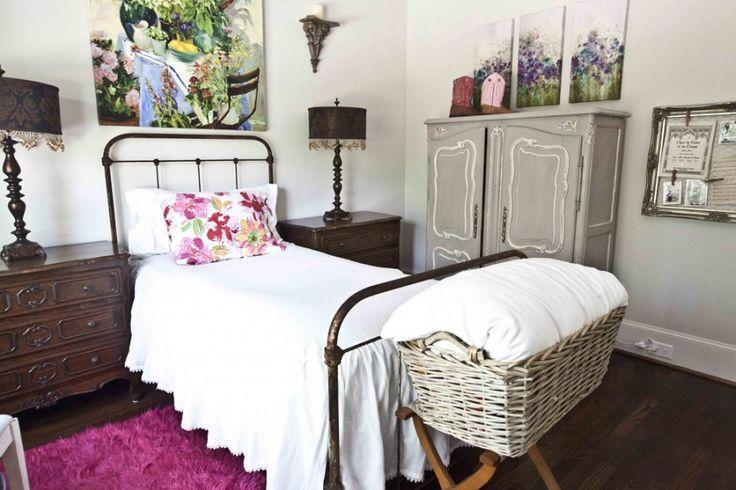 Shabby chic bedroom with white bed