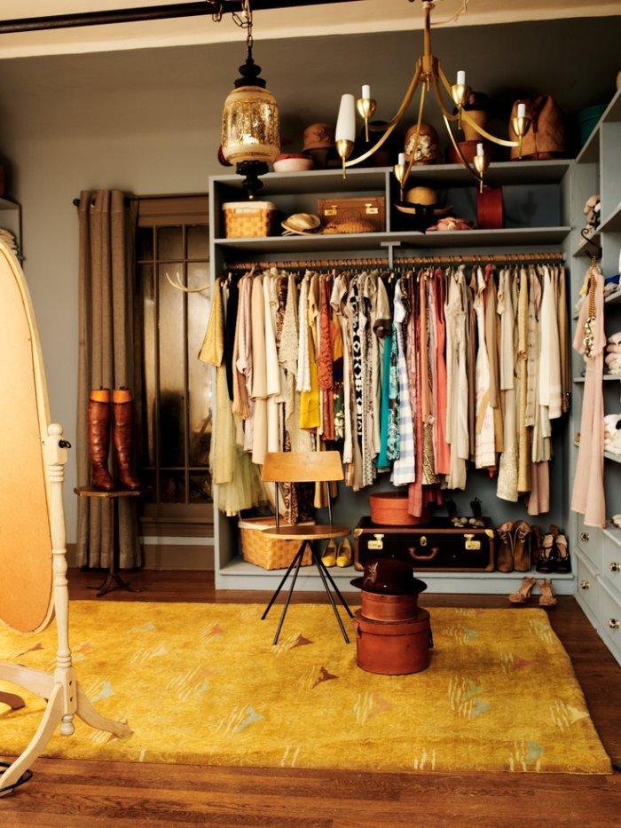 Shabby chic closet with sweet carpet