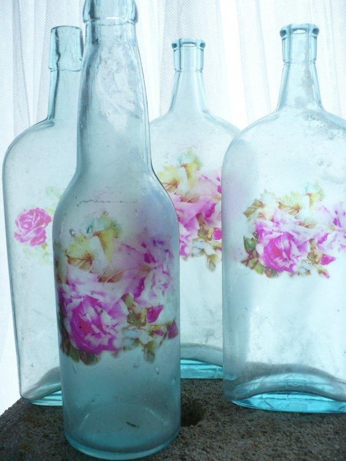 Shabby Chic Decoupage Of Glass Bottles Founterior