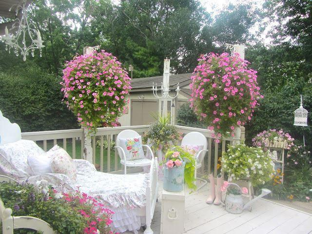 shabby chic garden with patio furniture