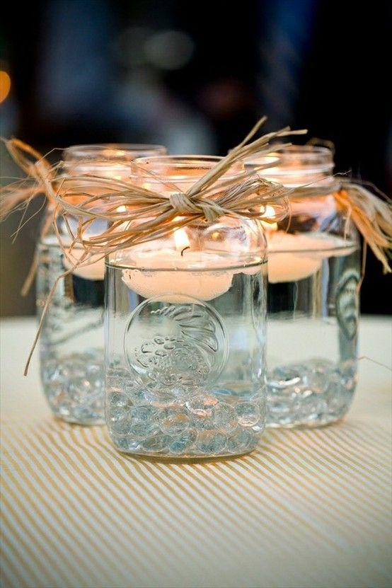 Shabby chic jars used as candleholders
